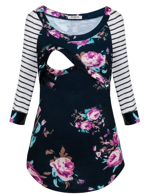 Hellmei Tunic Tops for Women, Women's Lift up Stripe Maternity Nursing Top Long Sleeve T-Shirt for Breastfeeding (Dark Blue,XL)