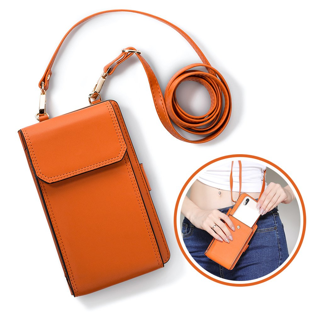 iPhone 7plus Wallet Case iPhone 6 Case Cell Phone Crossbody Shoulder Purse Bag Small Messenger Pouch Bags with Card Holder Slot for iPhone 8 8plus 7 7plus 6S 6 6plus (Orange)