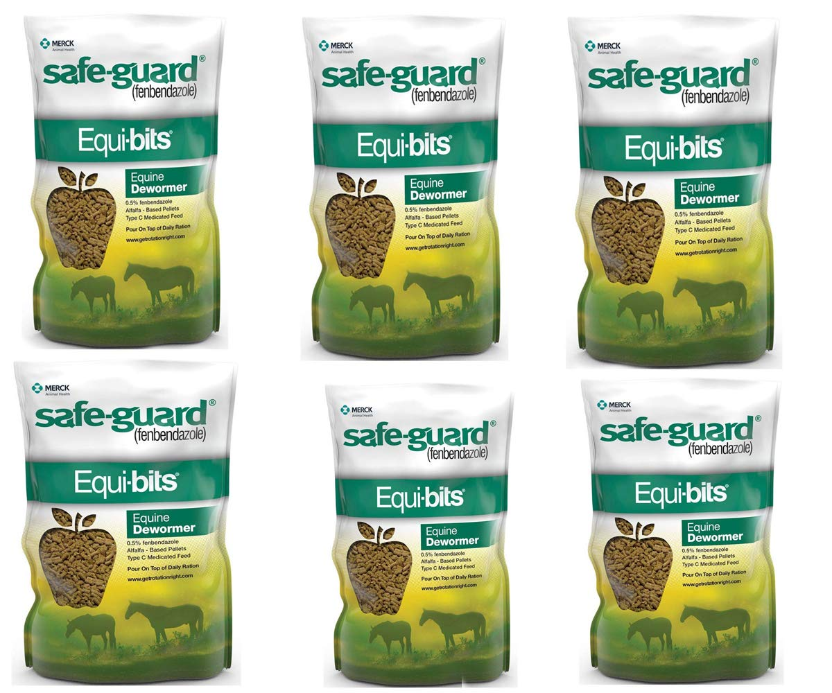 Equibits Equine Dewormer Pellets for Horses - Veterinaty Medications, Supplements and Supplies with 0.5% Fenbendazole - Animal Health Care (6 Pieces)