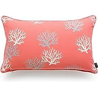 "Hofdeco Decorative Outdoor Lumbar Pillow Cover Water Resistant Patio Garden Picnic Decor Coral Love Coral 12""x20"""