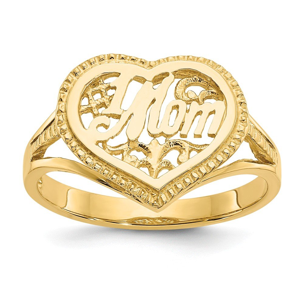 14k Yellow Gold #1 Mom In Heart Band Ring Size 7.00 S/love Fine Jewelry Gifts For Women For Her
