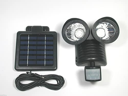 Motion Sensor Solar Security Spotlight 22 LED Dual Outdoor Flood Light – Black