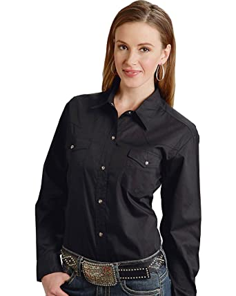 2a2967c5 Roper Women's Long Solid Poplin L/S Shirt at Amazon Women's Clothing ...