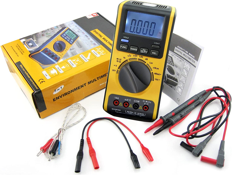 5-in-1 Multimeter with LUX DB Temperature RH AC DC