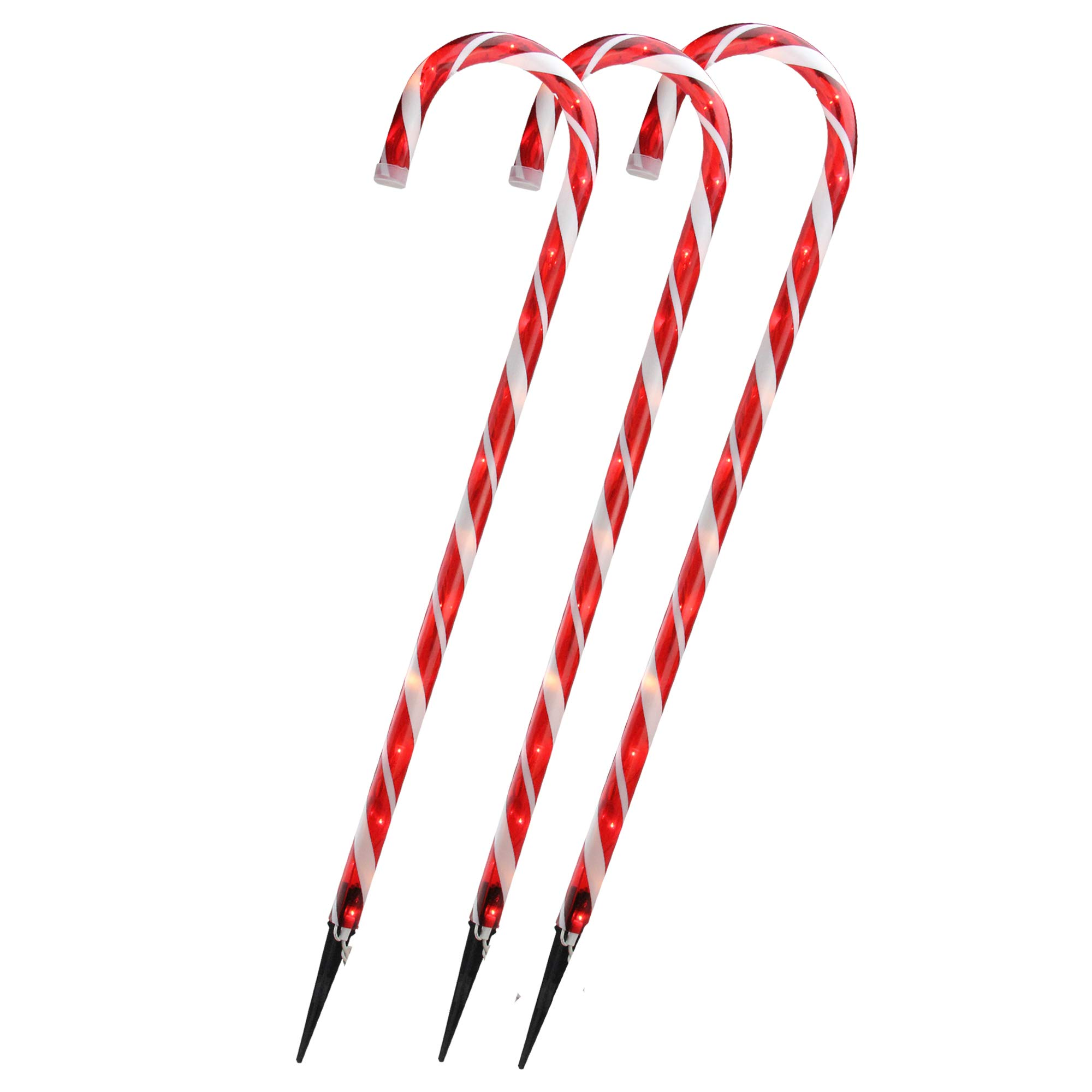 Set of 3 Lighted Outdoor Shimmering Candy Cane Christmas Lawn Stakes 28''