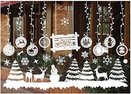 Christmas Snow Flakes Stickers Snowflakes Window Clings Display PVC Removable