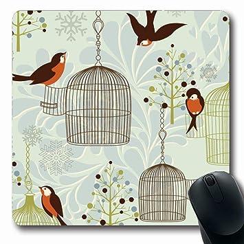 Alfombrilla de ratón Rojo Pinzón azul Pájaros de invierno Jaulas ...
