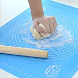 Silicone Baking Bakeware Cooking Mat - 15.7 x 19.6 Inches Extra Large Professional Blue Kitchen Mat with Measuring Guide Pastry Board Reusable Non-Stick Silicone Baking Mat for Pastry Rolling