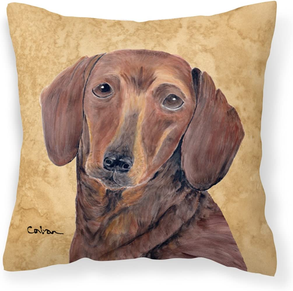 Caroline s Treasures SC9137PW1414 Dachshund Decorative Canvas Fabric Pillow, 14Hx14W, Multicolor
