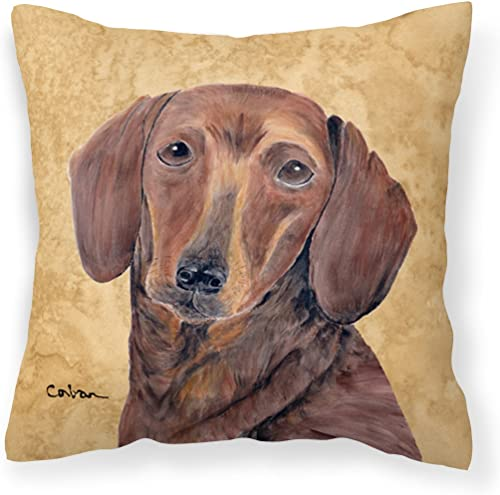 Caroline's Treasures SC9137PW1414 Dachshund Decorative Canvas Fabric Pillow