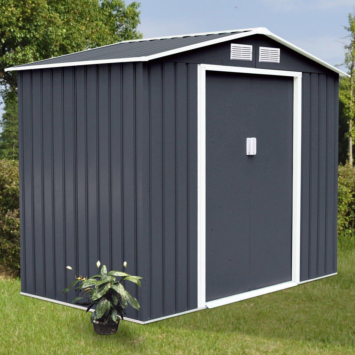 9'x6' Outdoor Garden Storage Shed Tool - Sliding Door Steel- Super big space Dark Gray New