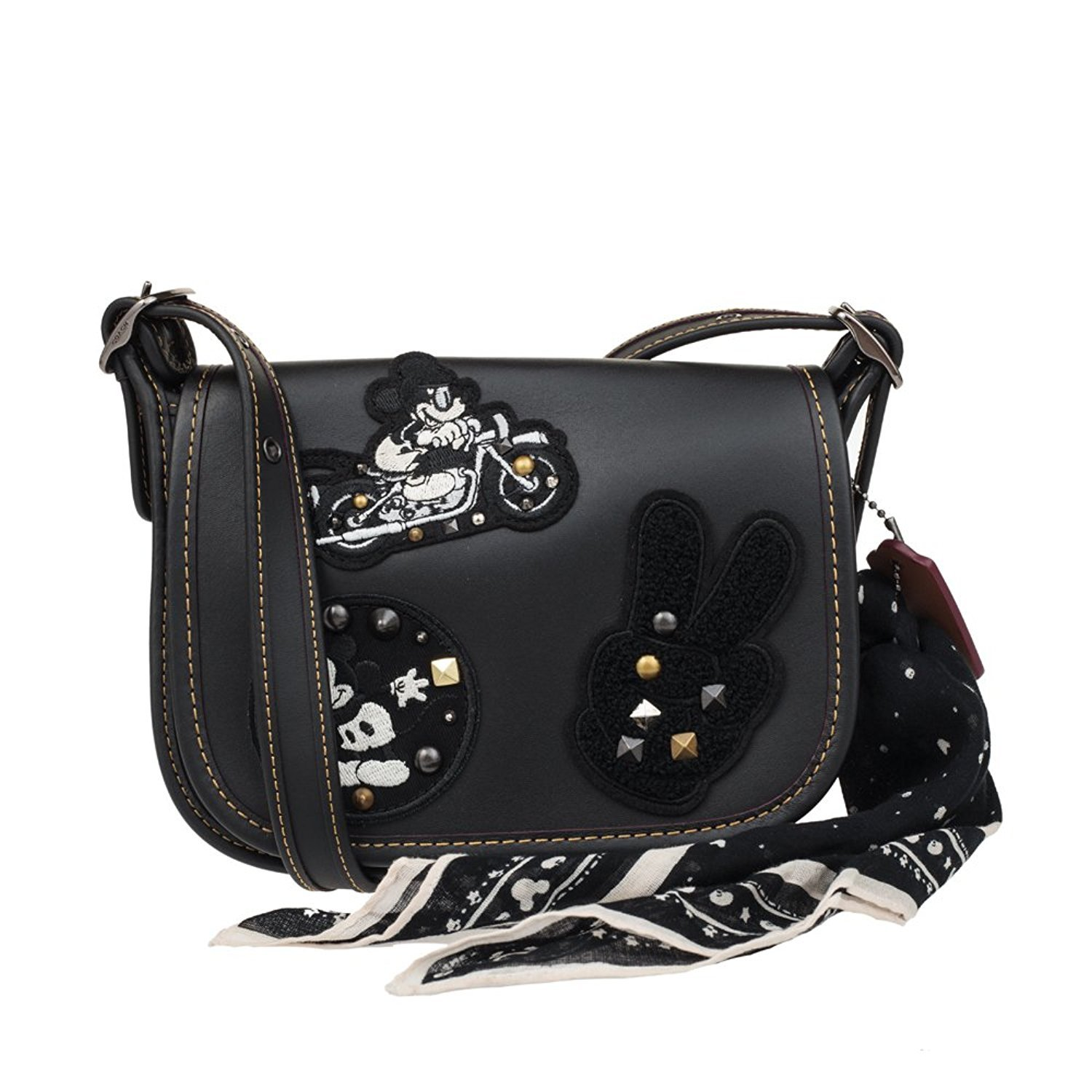 COACH MICKEY Patricia Saddle 18 in Glove Calf Leather with Mickey Patches Black