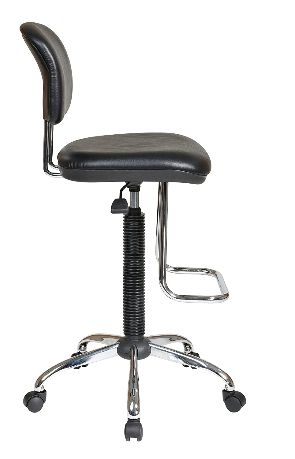 Amazon com  Office Star Pneumatic Drafting Chair with Casters and Chrome  Teardrop Footrest  Vinyl Stool and Back  Kitchen   DiningAmazon com  Office Star Pneumatic Drafting Chair with Casters and  . Office Star Height Adjustable Drafting Chair With Footring. Home Design Ideas