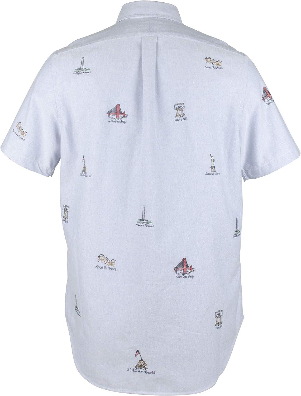 Polo Ralph Lauren Camisa Oxford con Estampado de Monumento Americano para Hombre - Azul - Large: Amazon.es: Ropa y accesorios