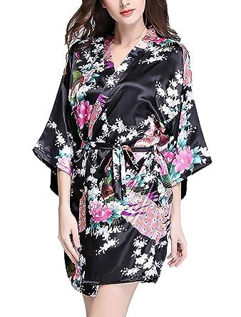 Kimono Mujer Verano Albornoces Cortos Pavo Real Y Flor Impresa Modernas Casual Pijamas Batas Ropa De Dormir Pijama: Amazon.es: Ropa y accesorios