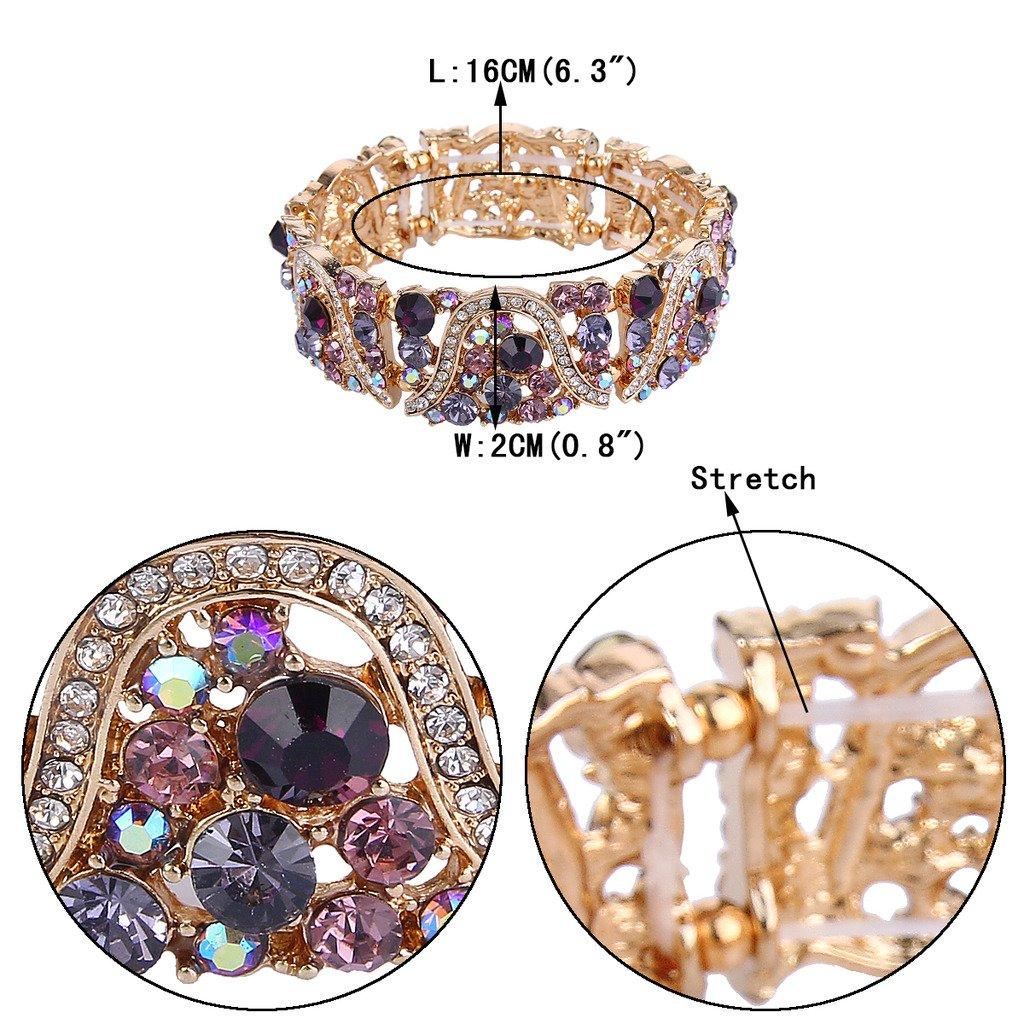 EVER FAITH Gold-Tone Austrian Crystal Art Deco Wave Bridal Elastic Stretch Bracelet Purple by EVER FAITH (Image #4)