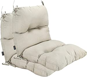 BOSSIMA Outdoor Indoor High Back Chair Tufted Cushions Comfort Replacement Patio Seating Cushions Set of 2 Beige