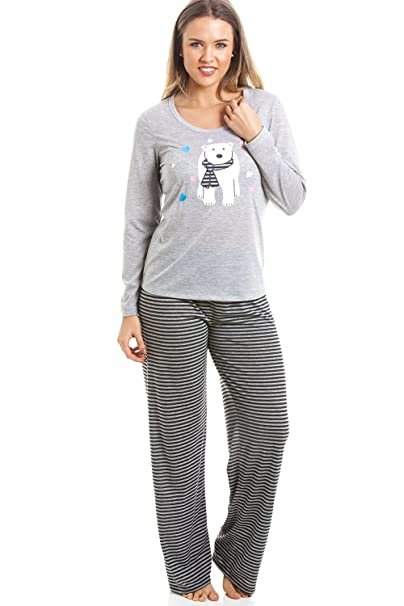 Conjunto de pijama largo - Estampado a rayas - Motivo oso polar - Gris y negro: Amazon.es: Ropa y accesorios