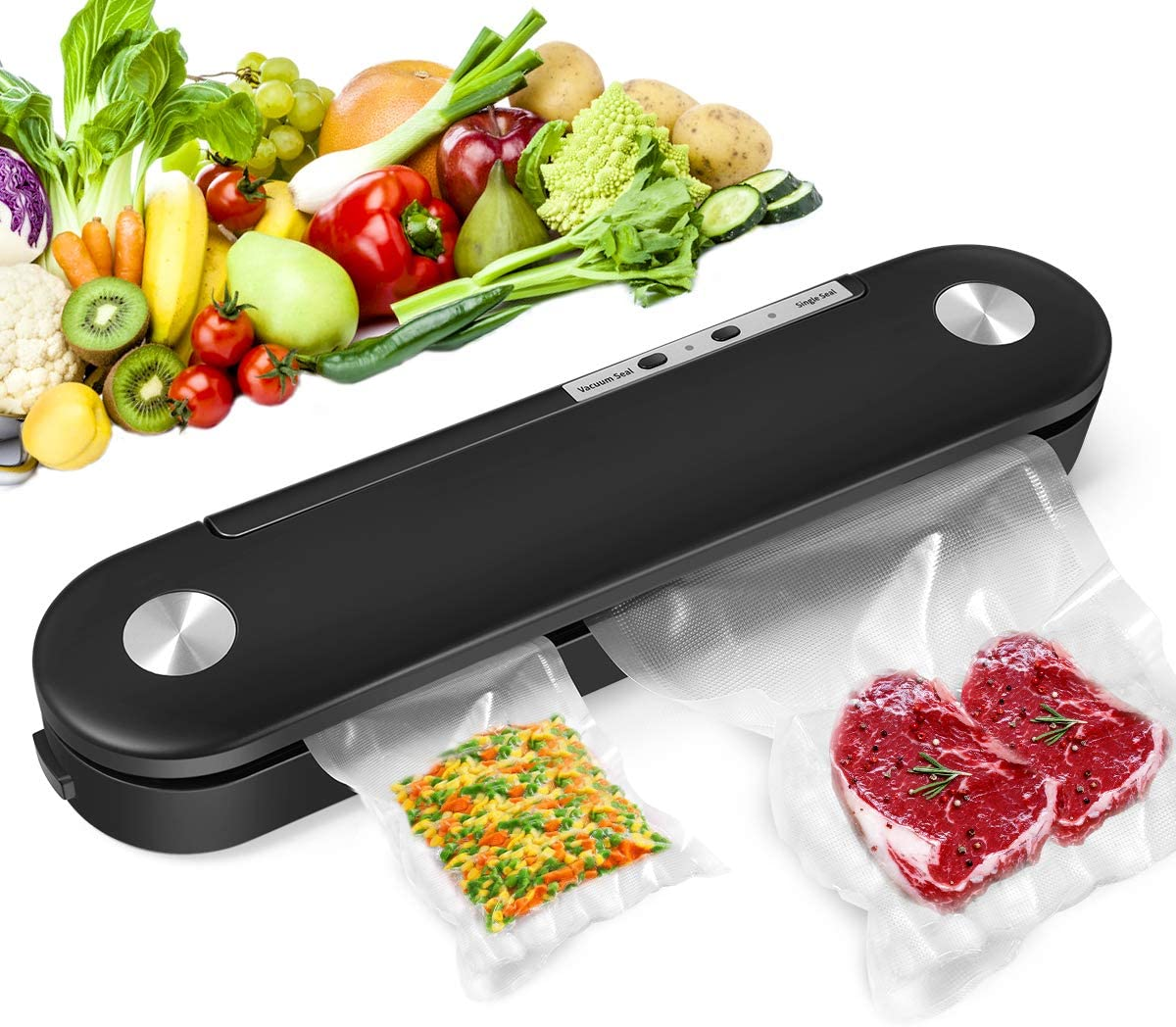 Vacuum Sealer Machine, 2021 Automatic Food Sealer Air Sealing System for Food Saver Storage, Heavy Duty Vacuum Packing Machine Portable Heat Sealer with 10 Vacuum Sealing Bags, Dry & Moist Modes, Led Indicator Lights, Compact Design