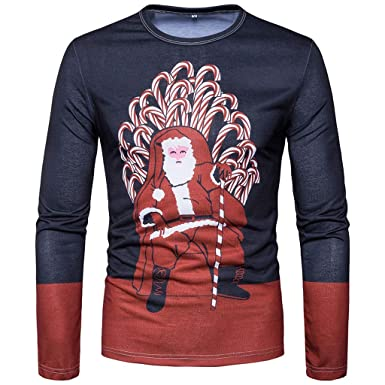 4192be46cba Giulogre New Men Xmas Christmas Printing Patchwork Stript Top Long Sleeved  T-Shirt Blouse Men s