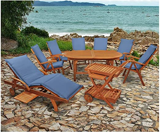 Indoba XL - Juego de muebles de jardín (16 piezas) Juego de mesa y sillas de jardín, incluye cojines, color azul: Amazon.es: Jardín