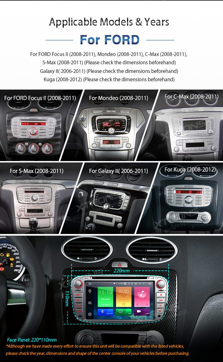 XTRONS Octa-Core 64Bit 2G RAM 32GB ROM 7 Inch Capacitive Touch Screen Car  Stereo Radio DVD Player GPS CANbus Screen Mirroring Function OBD2 Tire