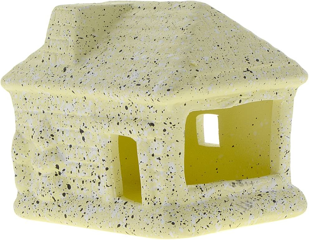 Hide Rest and Breed Saim Aquarium Ornament Ceramic Small Wooded House Fish Tank Decorations Landscape Decor for Betta Fish Amano Shrimp to Play Yellow