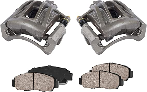 2 Quiet Low Dust Ceramic Brake Pads CCK01068 FRONT Premium Loaded OE Caliper Assembly Set
