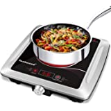Techwood Hot Plate Electric Stove Single Burner Countertop Infrared Ceramic Cooktop, 1500W Timer and Touch Control, Portable