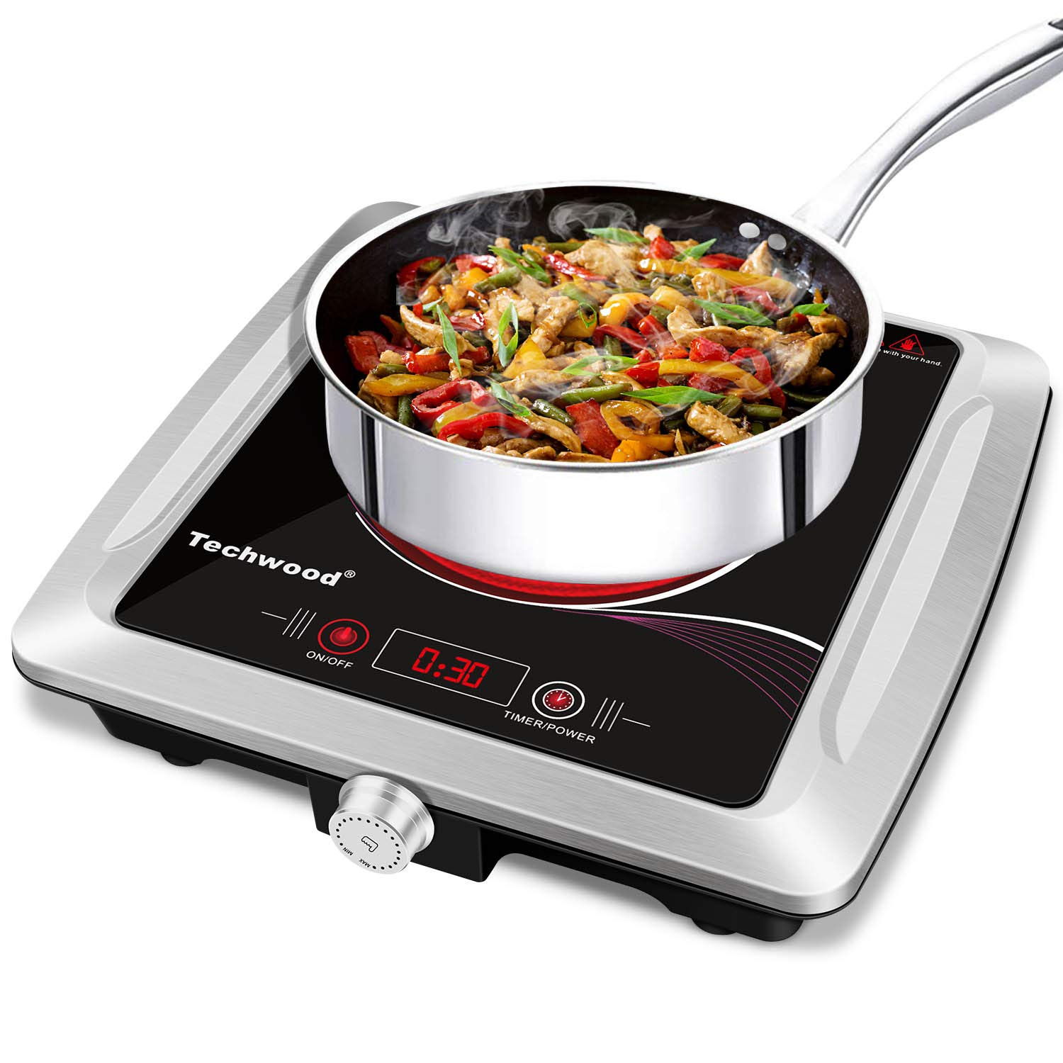 Techwood Hot Plate Electric Stove Single Burner Countertop Infrared Cooktop, 1500W Timer and Touch Control, Portable Compatible All Cookware, Ceramic Glass & Stainless Steel Easy to Clean