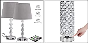 Crystal Touch Lamp Bedside, Table Desk Lamp Included 3PCS Lamp
