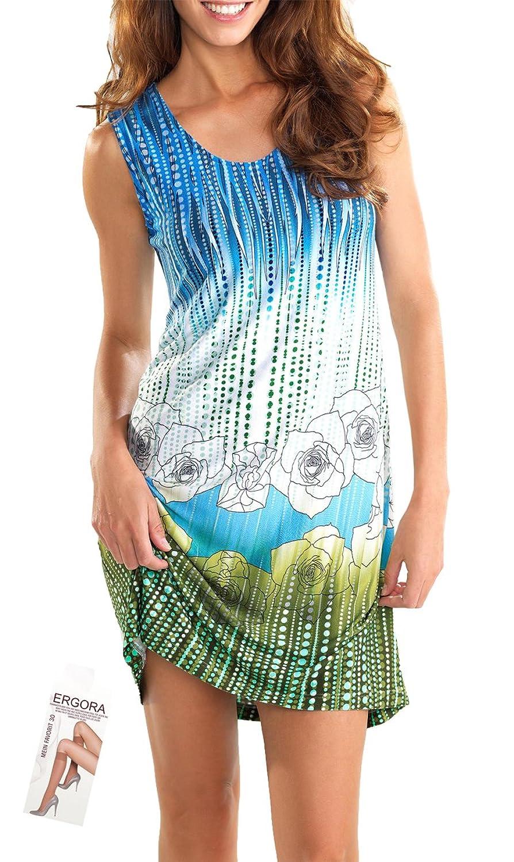 Cybele Damen Strandkleid Longshirt Blau-Grün 6 Gr. 36 bis 46 Longshirt Homewear Single-Jersey + 1 Paar Fekniestrümpfe