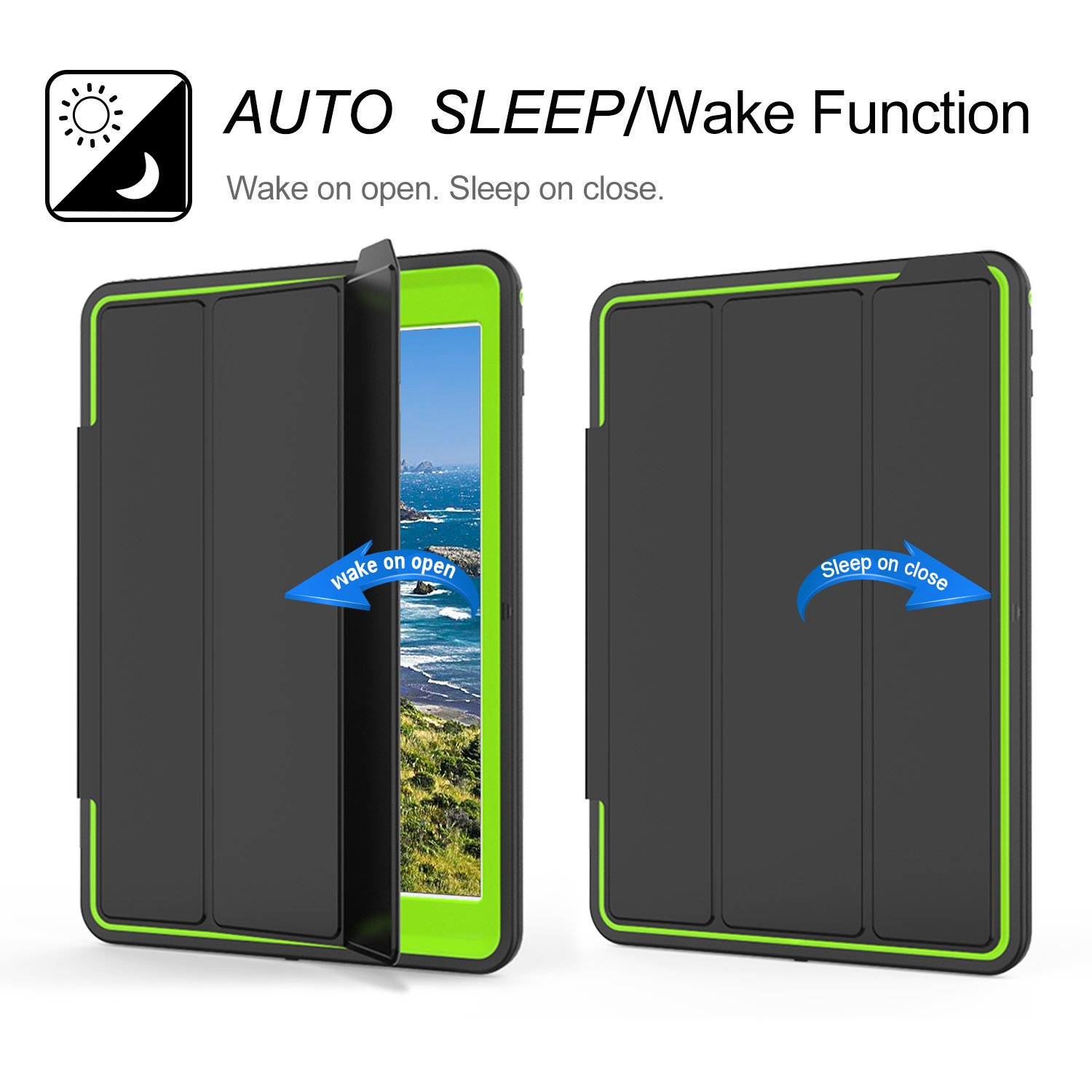 Qelus iPad Air2 Case, Three Layer Hybrid Shockproof Rugged Protective Heavy Duty with Magnetic Stand, Smart Cover Auto Wake/Sleep Protective Case Cover for Apple iPad Air 2(2014 Released),Black+Green by Qelus (Image #4)
