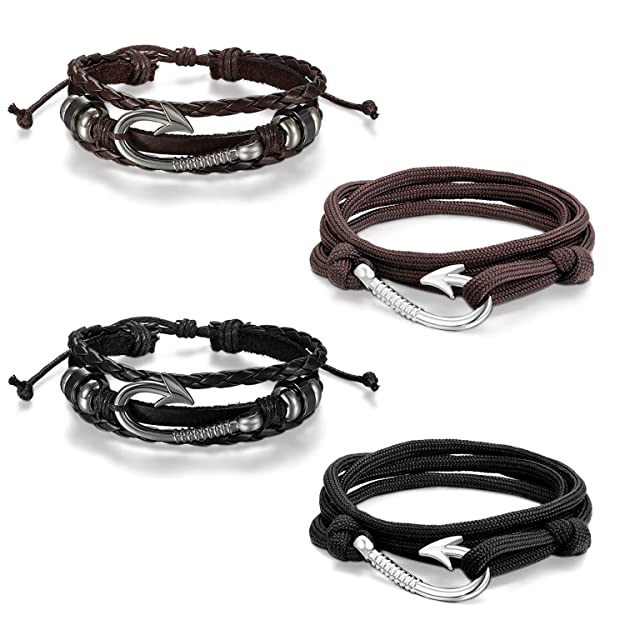Cupimatch 4 Pieces Nautical Fish Hook Couple Nylon Ropes Bracelets Leather Cuff Bangle For Men Women by Cupimatch
