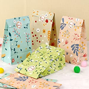 AerWo 48pcs Floral Party Favor Bags, Flowers Paper Gift Bags Candy Goodie Treat Bags for Girls Birthday Party Wedding Bridal Baby Shower Garden Tea Party Supplies