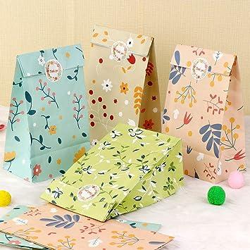Amazon.com: AerWo - 48 bolsas de regalo de papel Kraft con ...