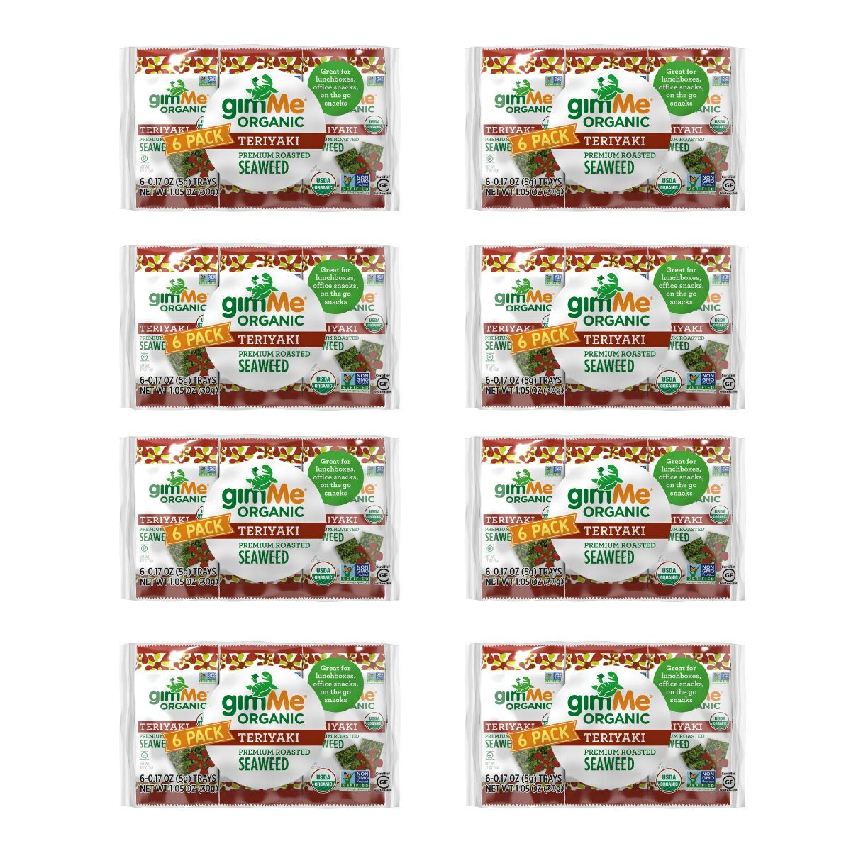 GimMe Health Foods Organic Roasted Seaweed Snack, Teriyaki, 0.17 ounce, (Pack of 48) by Gimme Health Foods (Image #1)
