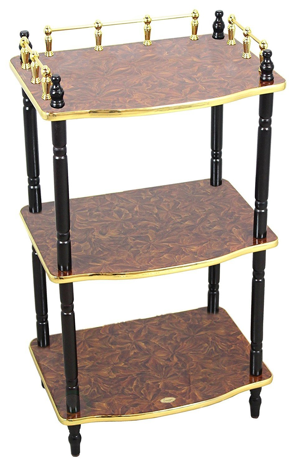 Multi-Tiered Telephone Table, Night Stand, Elegant Gold Polish Railing, Plant Stand, Living Room, Book Shelf Decor, Espresso, Avoid Slipping, Comfortable, Creative, Bedroom, Home, Office