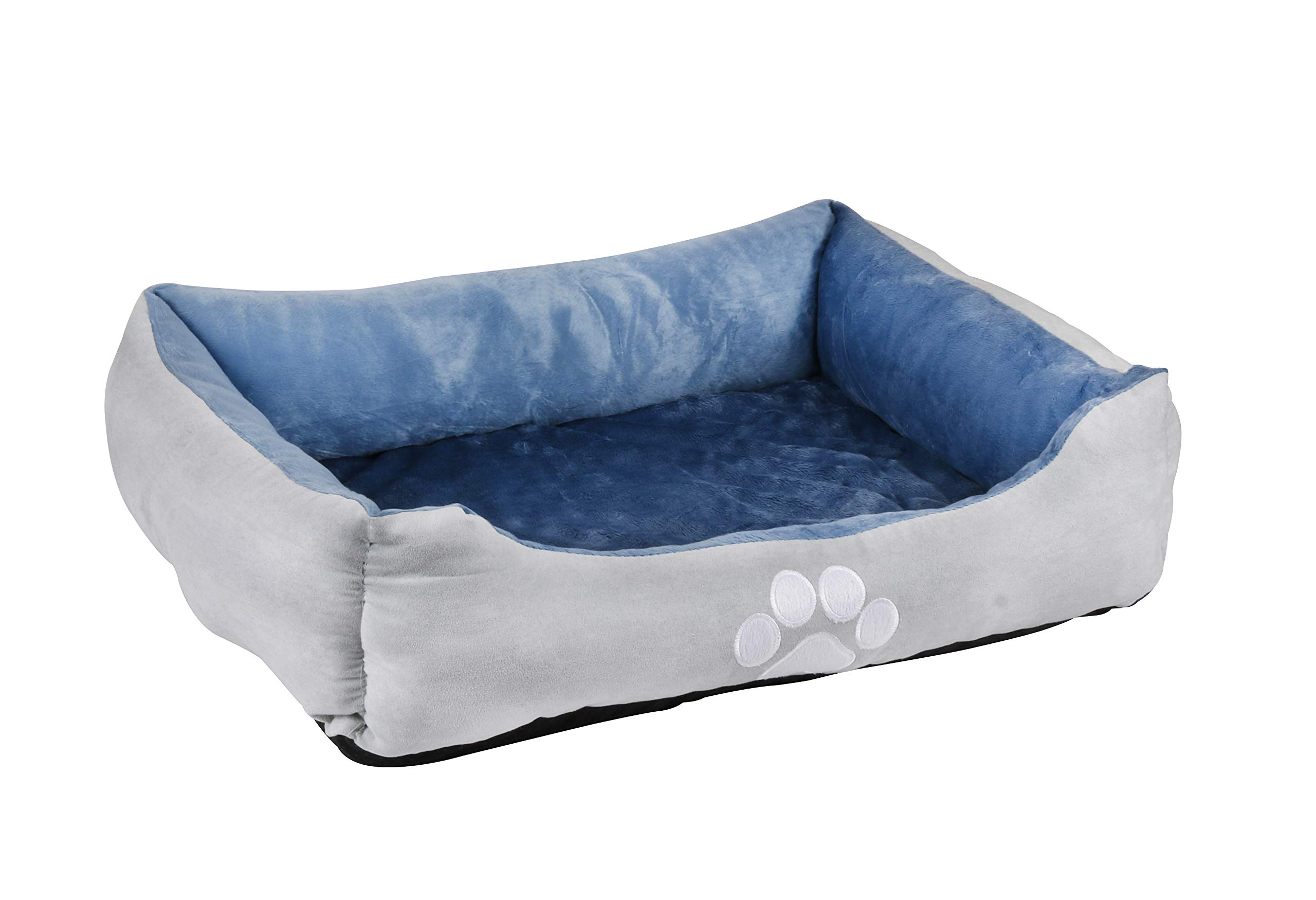 long rich Orthopedic Rectangle Bolster Pet Bed,Dog Bed, Medium 25x21 inches Blue, by Happycare Textiles by long rich