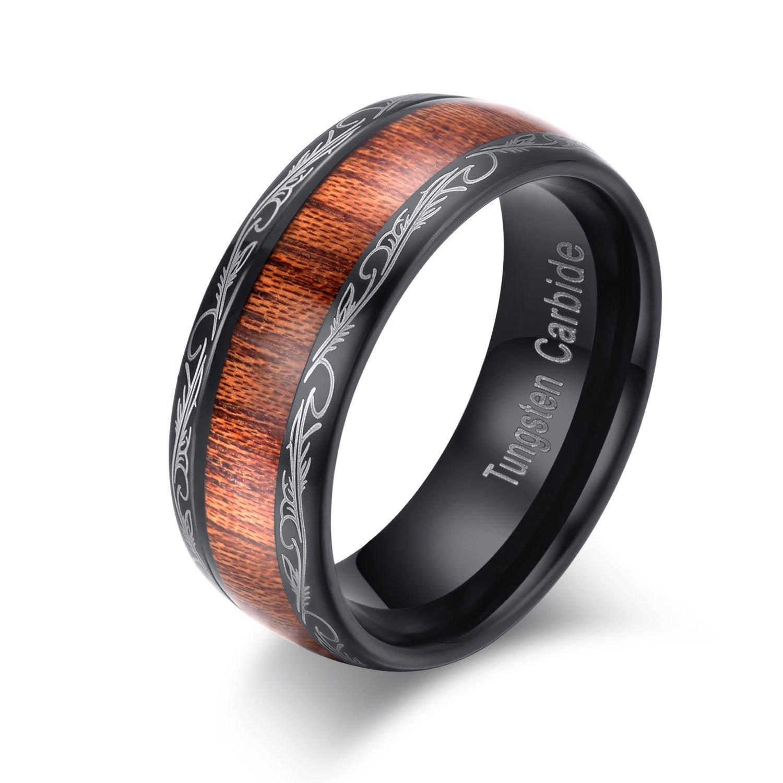 COPAUL Men's 8mm Tungsten Carbide Ring Dome Koa Wood Inlay Wedding Band,Size 12.5