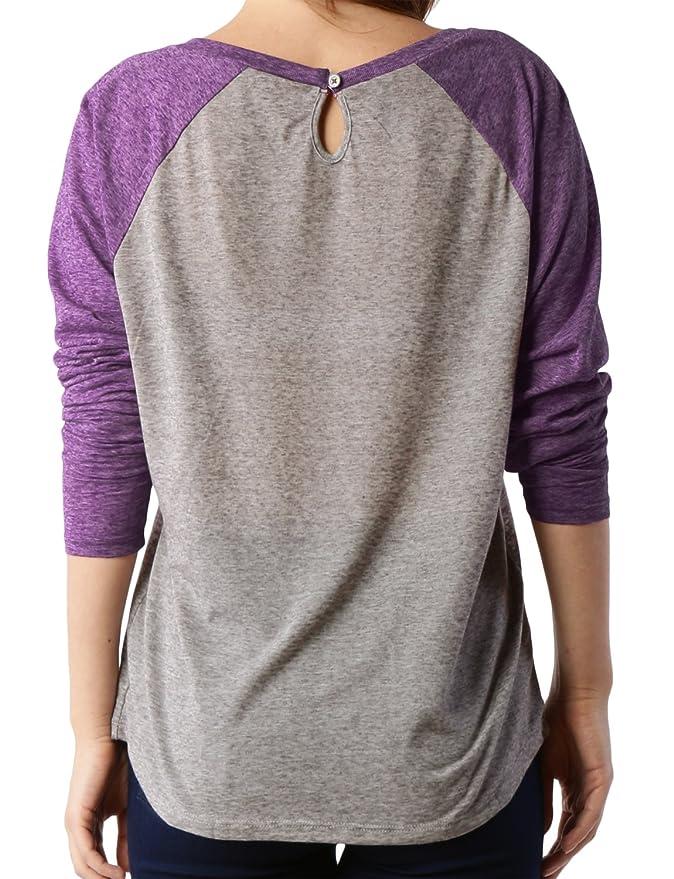 97b10705ed7 Amazon.com  LE3NO Premium Womens Lightweight Raglan Long Sleeve Loose  Baseball Tee  Clothing