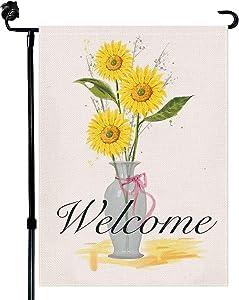 Baikey Garden Flag, Welcome Yard Flag Sunflower Vase Vertical Double Sized Housewarming Fall Garden Flag for Farmhouse Home Outdoor Decoration 12.5 x 18 Inch