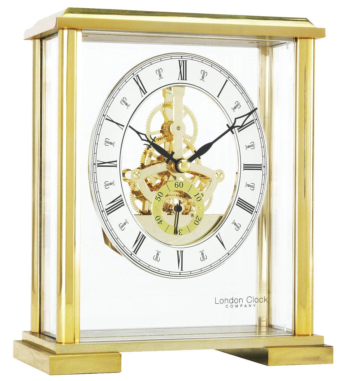 19/x 16/x 8/cm Dor/é Londres Horloge Carr/é Dessus de chemin/ée Squelette
