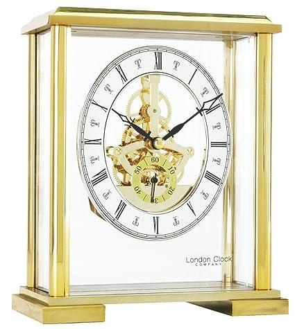 Gold skeleton mantel clock