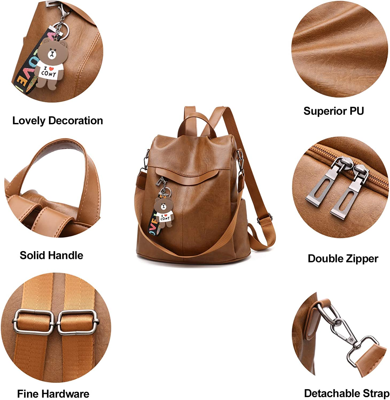 Woeita Donne zaino anti-furto impermeabile casual zaino borsa in pelle PU leggera borsa a tracolla scuola