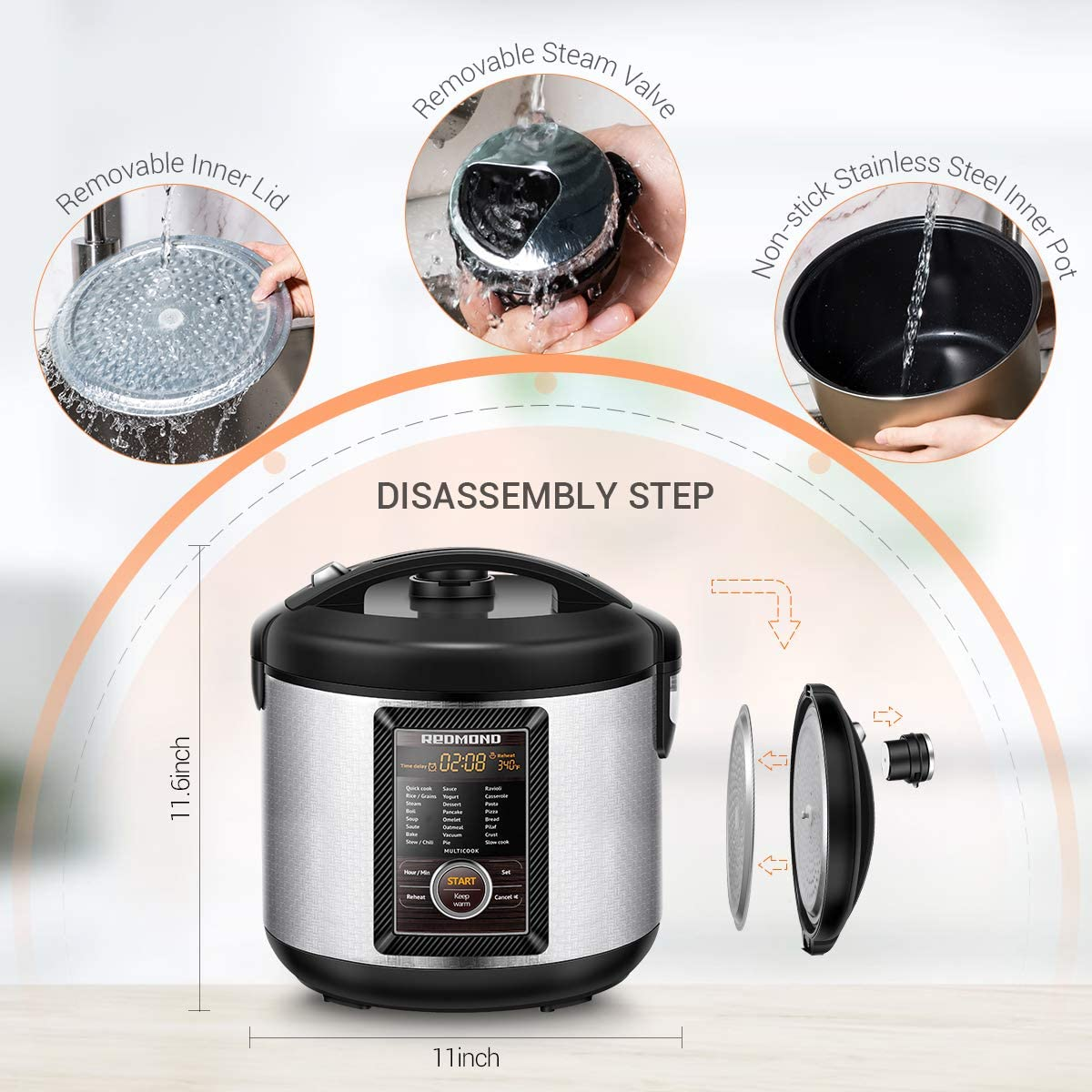 Rice Cookers LCD Display Stainless Steel 5.25 Quart M23A  Hot ...