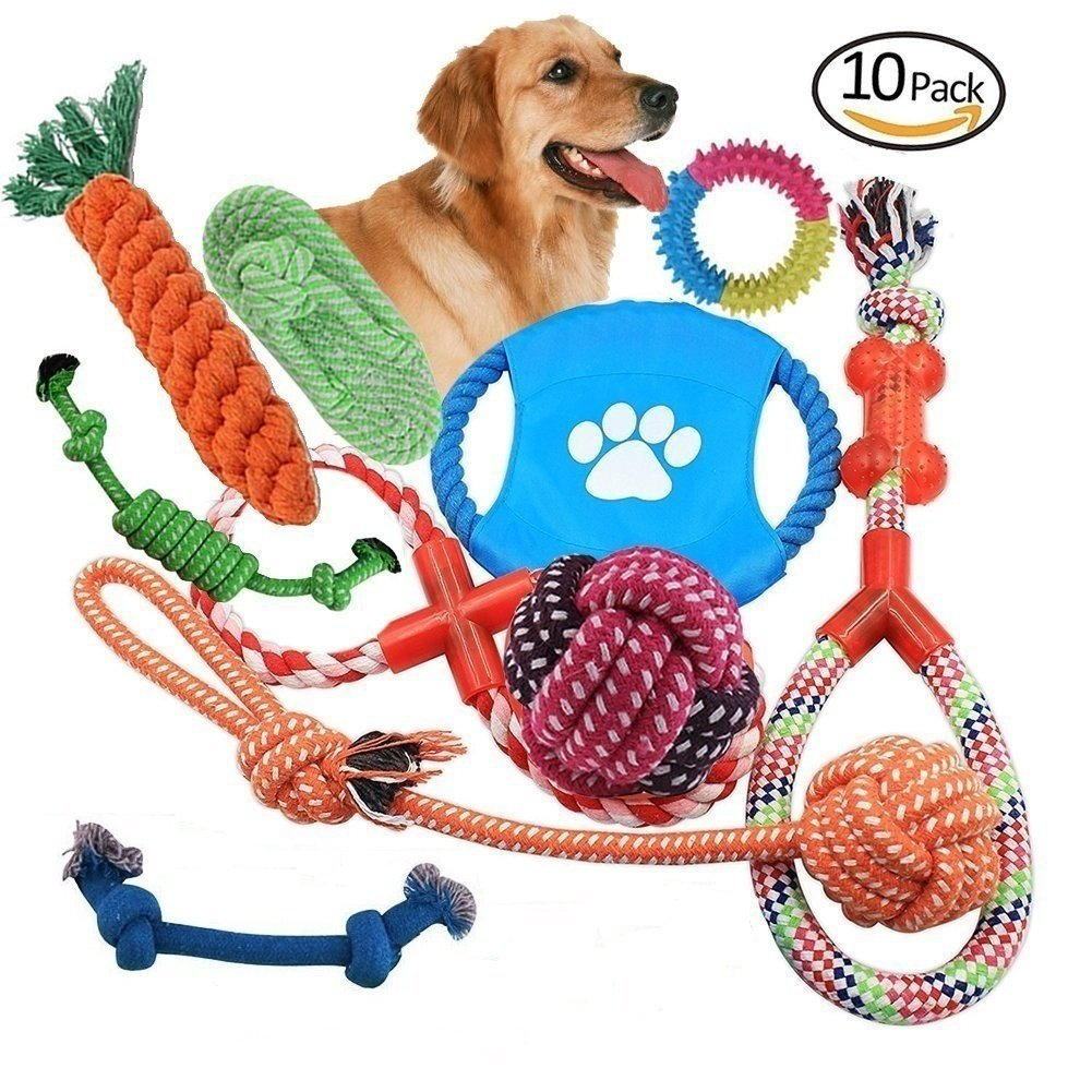 10 PCS Dog Rope Toys Set Pet Durable Chewing Toy Interactive Cotton Fibre Teeth Cleaning for Puppy Medium Dogs (Colourful) Paladin NLH