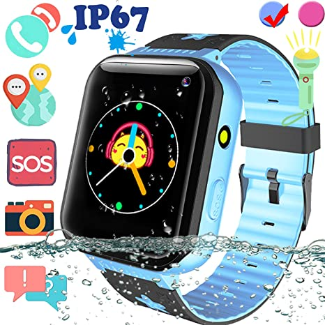 Kids Waterproof Smart Watch Phone with GPS Tracker - 1.5 Touchscreen Smartwatch with SIM Slot SOS Anti-Lost Camera Flashlight Alarm Clock Phone ...