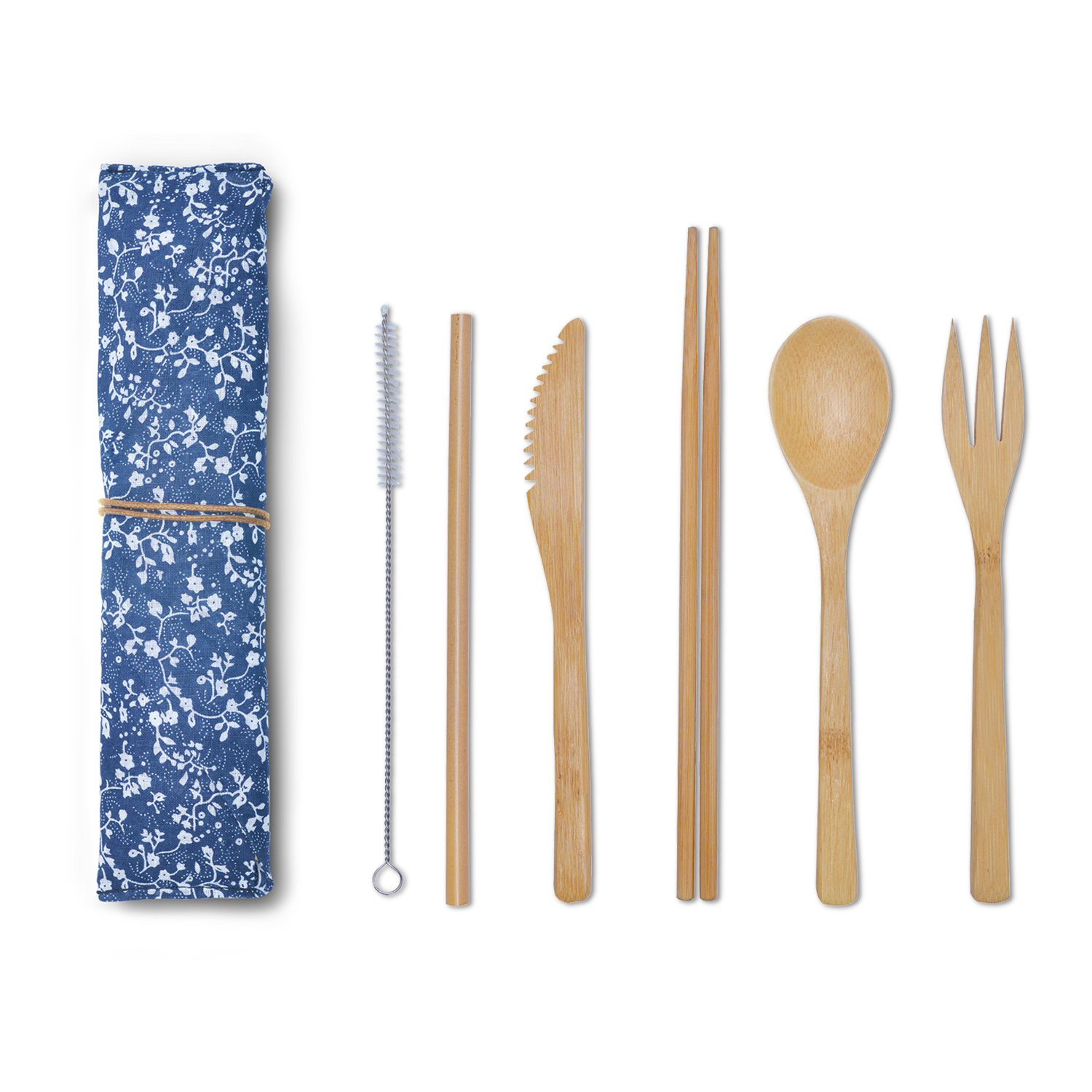 Bamboo Utensils, Cutlery Set (Knife, Fork, Spoon, Chopsticks, Straw & Straw Cleaning Brush) - For Travel, Outdoor Camping, Picnics and Office Lunch Box