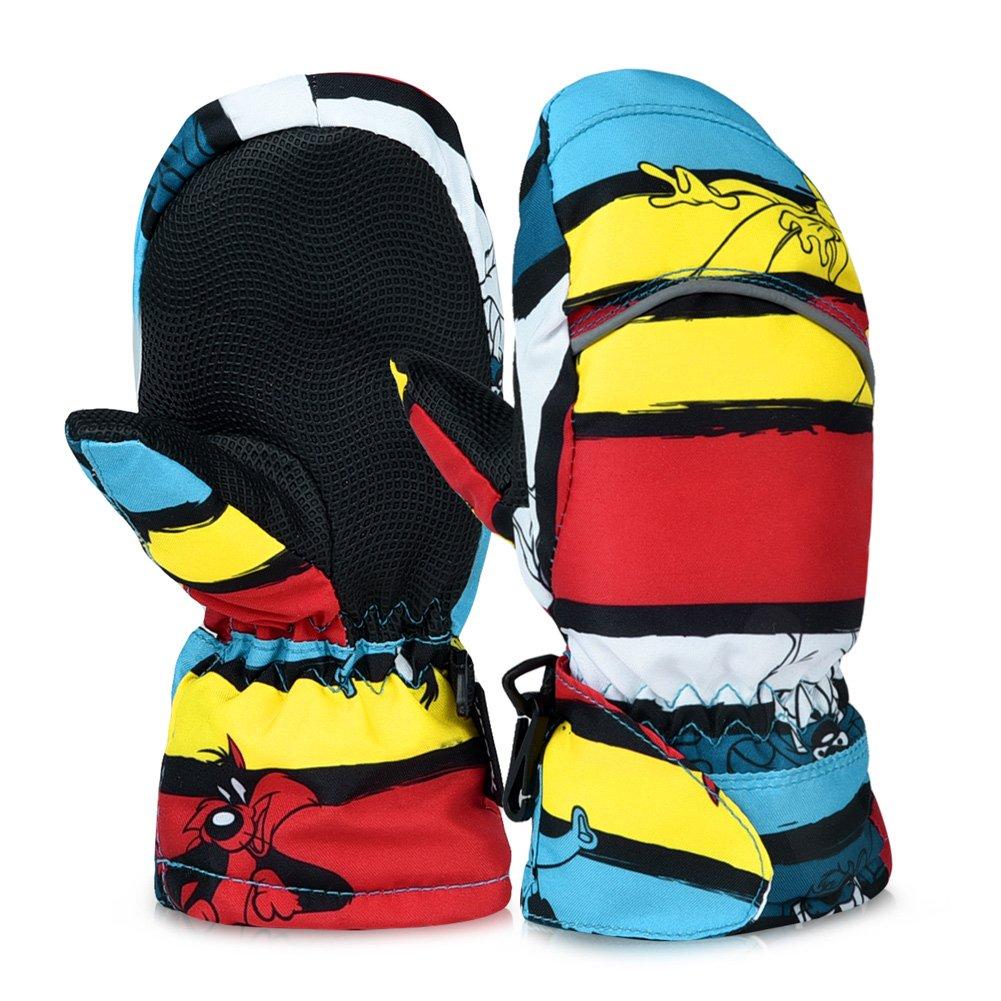 Vbiger Kinder handschuhe ski Handschuhe Warm Winter Handschuhe Anti-Rutsch Sport handschuhe Camo Windproof Skatinghandschuhe Geeignet für Jungen und Mädchen